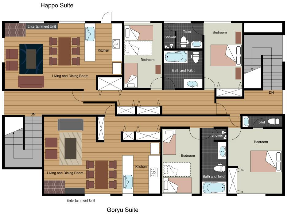 #floorplans 2 Bedroom Happo & Goryu Apartments