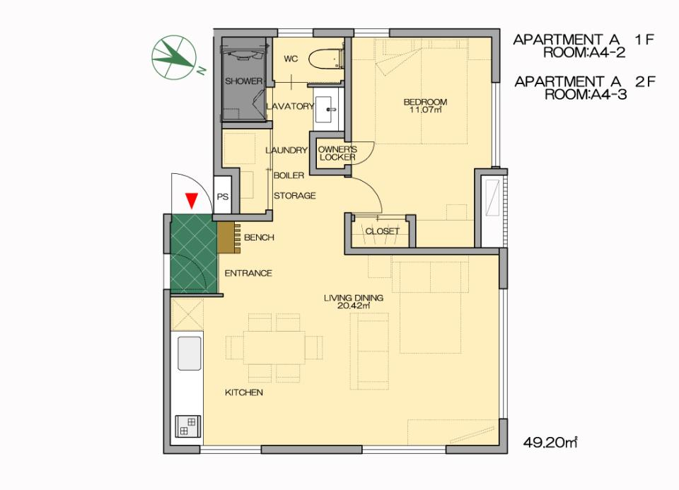#floorplans Snow Dog Apt A4-2-3