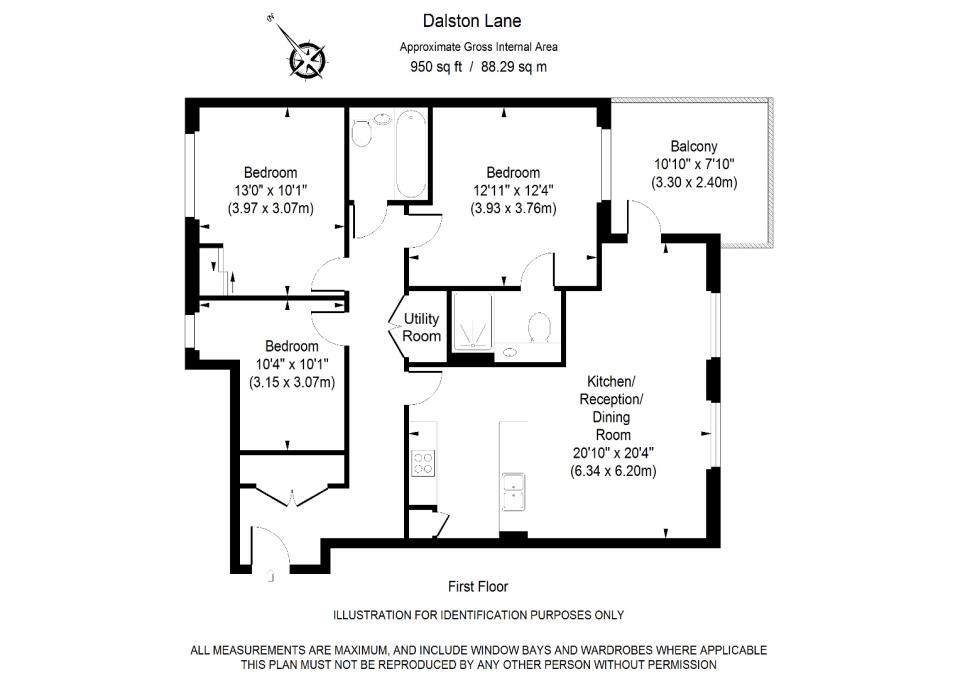 Dalston Works - Three Bedroom Floor Plan