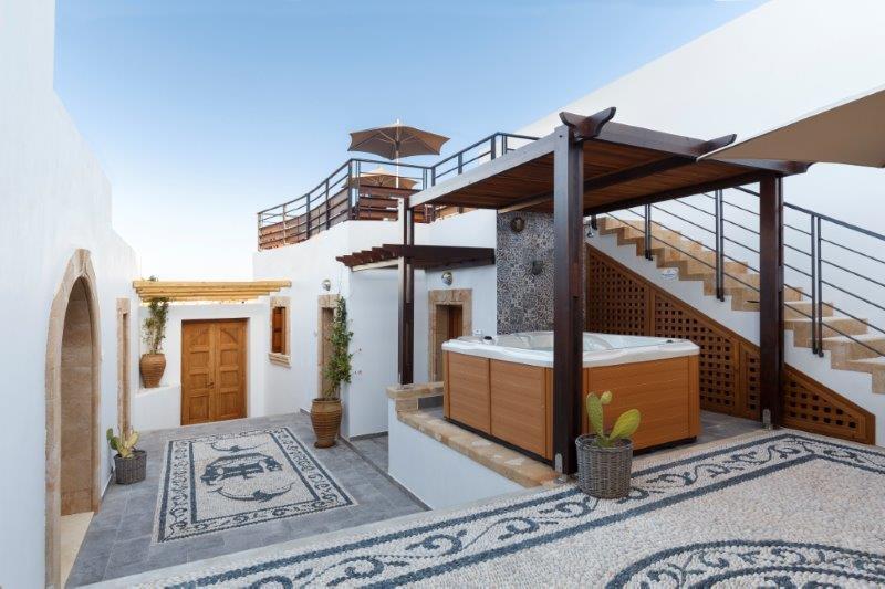 Lindos Aqua Luxury Villa - Courtyard and Terrace