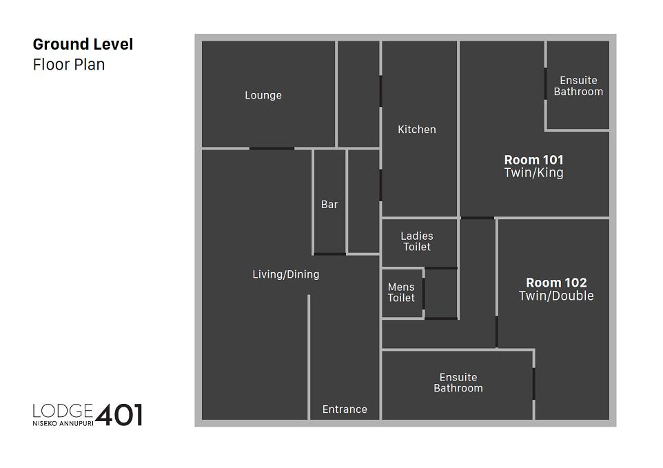 Lodge 401 Floor plan Ground Level