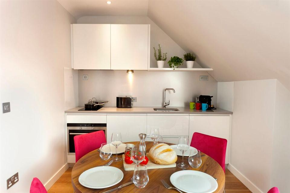 Premier Suites Dublin Ballsbridge Kitchen and Dining Area