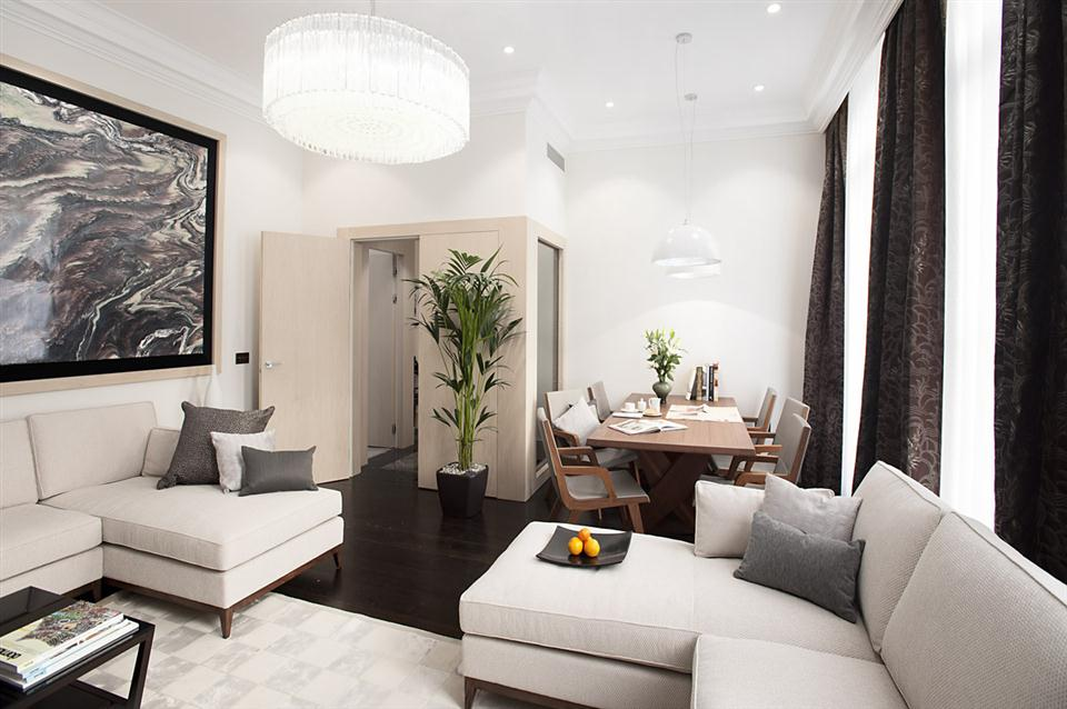 Claverley Court Three Bedroom Knightsbridge Suite - Living and Dining Room