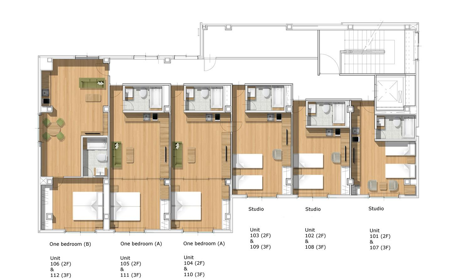 #floorplans Studio and One Bedroom Apartment