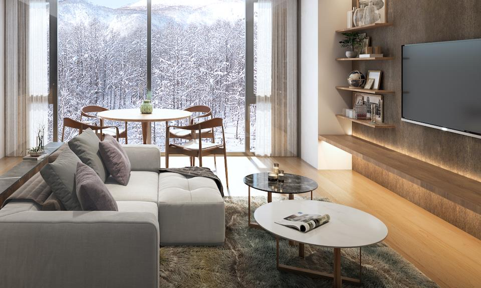 Niseko Accommodation Intuition 5 -2 BR Superior and 1 BR-Living Area