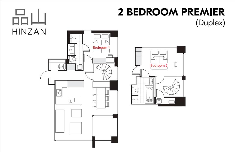 #floorplans Hinzan 2 bedroom Premior