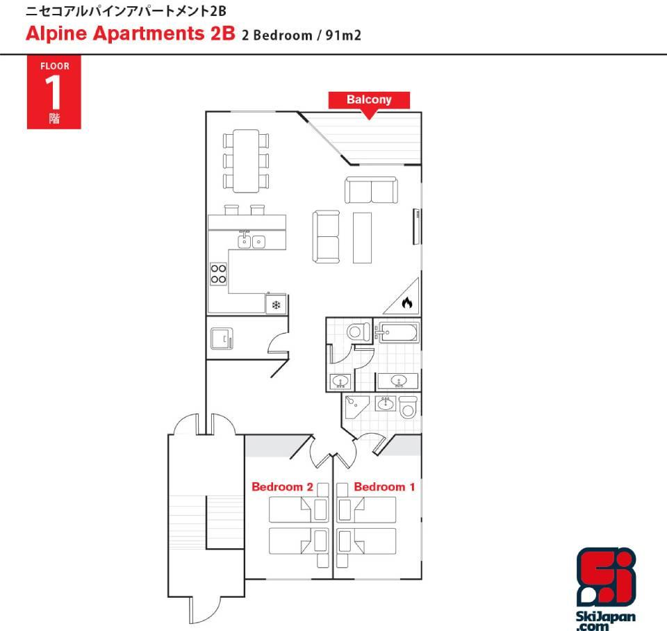 #floorplans Alpine Apartments 2B