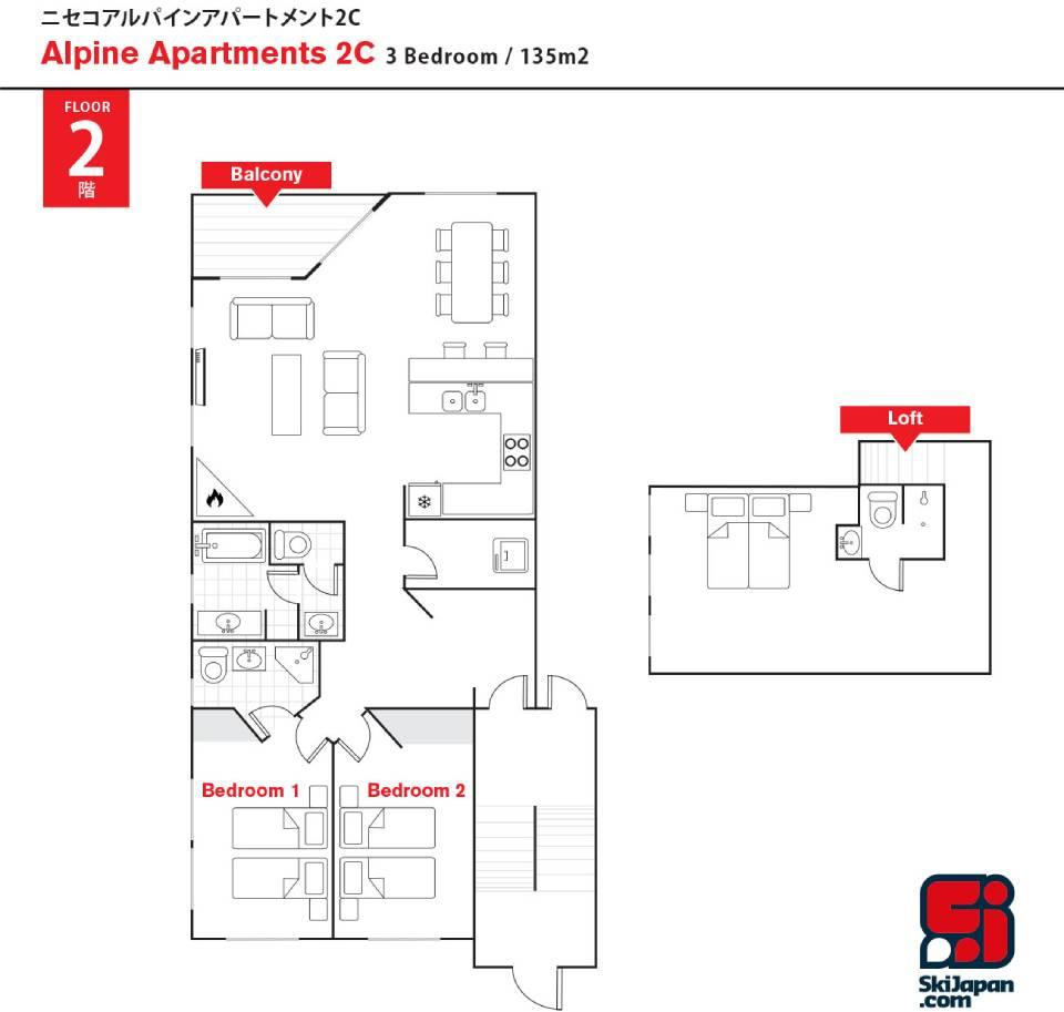 #floorplans Alpine Apartments 2C