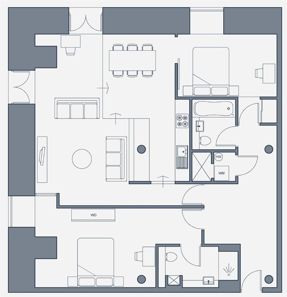 The Place Aparthotel - Deluxe Apartment Floorplan