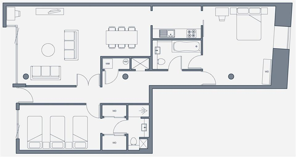 The Place Aparthotel - Family Twin Apartment Floor Plan