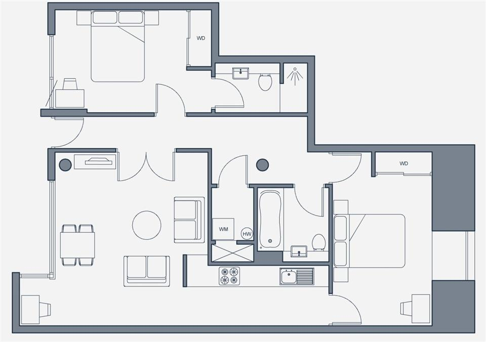 The Place Aparthotel - Two Bedroom Apartment Floorplan