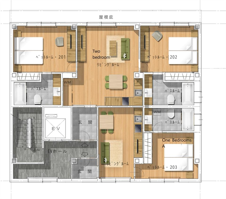 #floorplans 2 Bedroom Apartment and 1 Bedroom (type A) Apartment