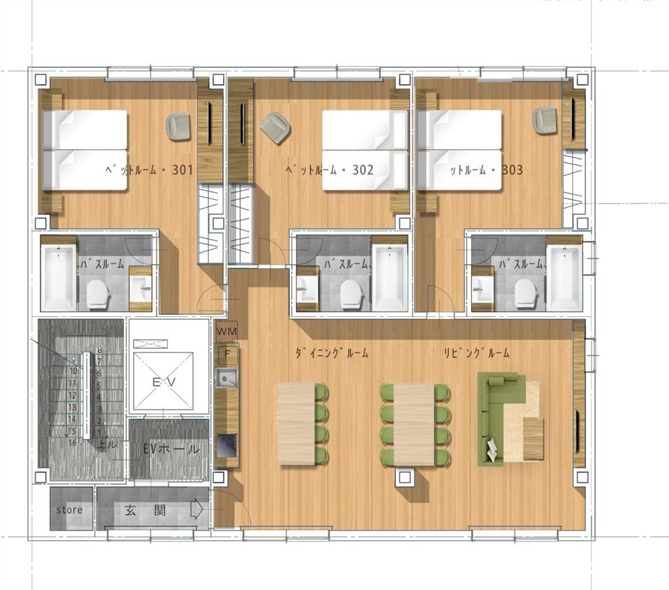 #floorplans 3 Bedroom Penthouse Apartment