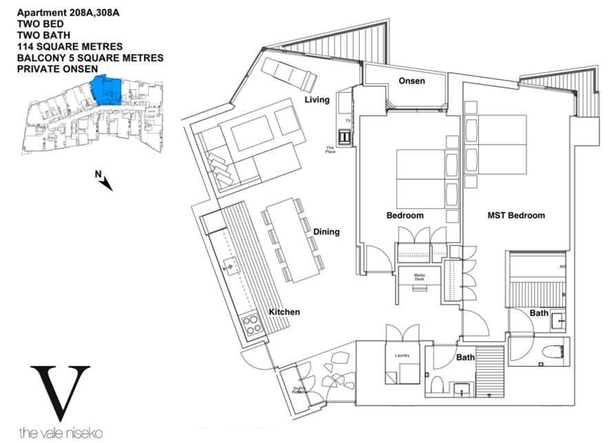 #floorplans The Vale 2 Bedroom Ski Side with Onsen
