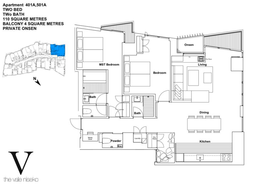 #floorplans The Vale 2 Bedroom Ski View Deluxe with Onsen