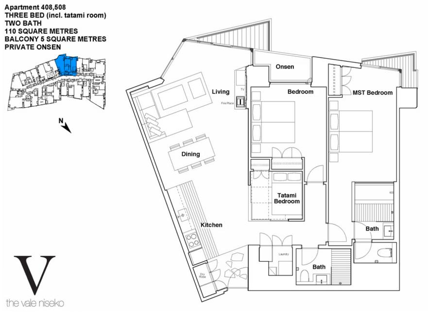 #floorplans The Vale 3 Bedroom Ski Side Deluxe with Onsen