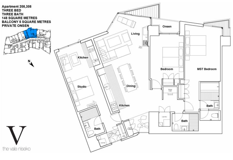#floorplans The Vale 3 Bedroom Ski Side with Onsen