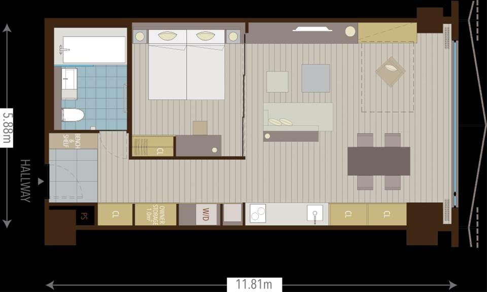 #floorplans 1.5 bedroom