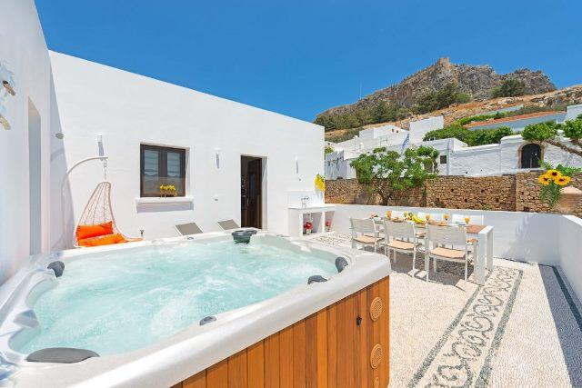 Lindos Diamond - Relax in the hot tub and take in the view