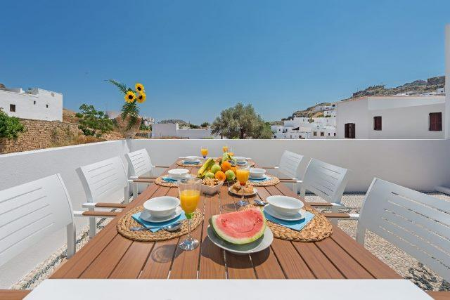 Lindos Diamond - Outside dining table where you can enjoy a nice breakfast and take in the views